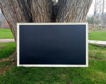 EXTRA LARGE Magnetic Chalkboard Distressed Ivory White Vintage Style Frame 60 x 36 in. - Magnetic Board Set - 5 x 3 ft. White Chalkboard