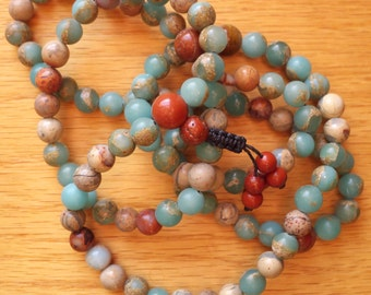 Impression Jasper and Red Flake Jasper Mala