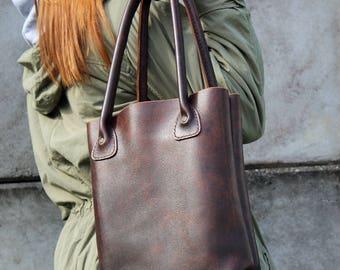 Leather tote bag, Brown bag, Leather shopper bag, Everyday Bag, Laptop Bag , Leather Shoulder bag.