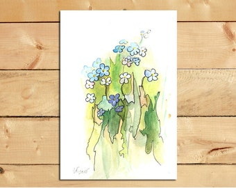 Forget me not Original painting flowers 5x7 inch painting Watercolor original SFA Small floral art Decor for kitchen wall