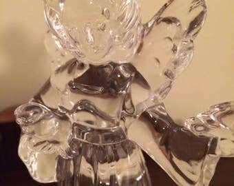 Vintage 1980 Mikasa Lead Crystal Harmony Collection Angel WIth Doves Figurine Votive