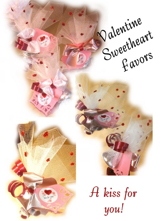Sweetheart favors pink silver red party favors valentine favor pack set 12 kisses n hearts favors tulle wrapped scalloped hearts gift tags