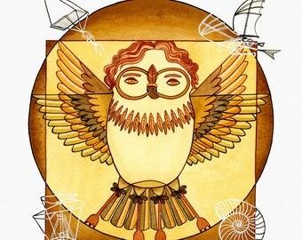 Vitruvian Owl, Watercolor Art Print