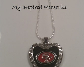 Free Shipping! San Francisco 49ers necklace, sterling silver chain