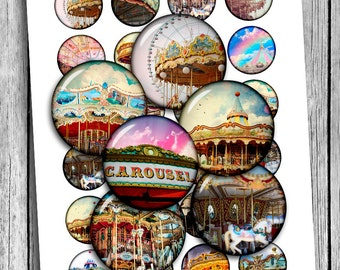 Carnival Carousel 1 inch 1.5 inch Printable Round images Digital Collage Sheet Printable Download