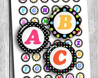 Colorful Alphabet 1 inch Printable Round images Initials for Scrapbooking Digital Collage Sheet Printable Download
