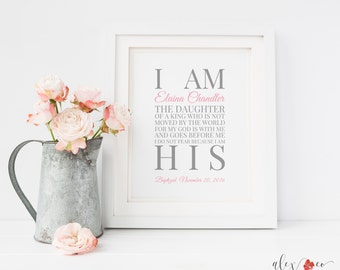Baptism gifts etsy i am the daughter of a king printable personalized baptism gift girl baby girl negle Image collections