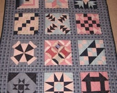 Lap Quilt, Pink and Blue, Sampler Blocks, 52x67, Handmade, FREE SHIPPING