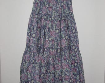Laura Ashley, Made in Great Britain, Three-Tiered Purple Floral Skirt, Size M, Pristine Condition, FREE SHIPPING