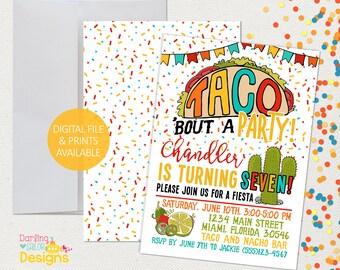 Taco Birthday Invitation, Fiesta Invitation, Cinco De Mayo, Prints or Digital File, Taco Bout a Party, Nacho Party, Taco Party
