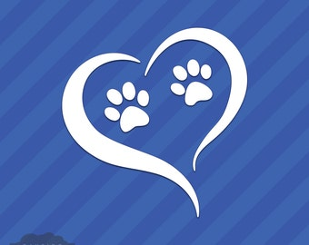 Paw Prints With Heart Vinyl Decal Sticker