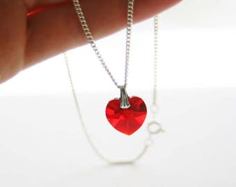Red Swarovski Crystal Heart Pendant w/ Silver Plated Chain Necklace // Made in England