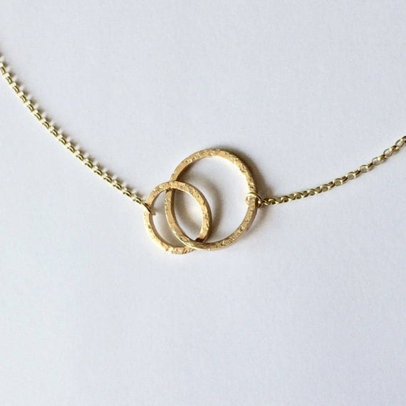 Gold Linked Circles Necklace - 9 Carat Yellow Gold