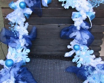 12' Winter Garland Winter Door Decor Winter Mantel Garland Snowflake Garland Snowflake Door Decor White Blue Garland Ornament Garland
