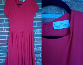 Great Basic Red Comfy Tshirt Dress with Pockets L/XL