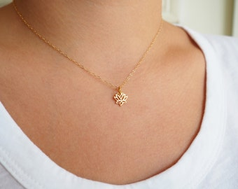 Tiny Lotus Necklace, Yoga Necklace, Gold Lotus Necklace, Available in Sterling Silver, Gold and Rose Gold