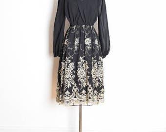 jack bryan dress, vintage 80s dress, embroidered dress, black gold, gold embroidery, 1980s 80s clothing, 80s party dress, black dress, M