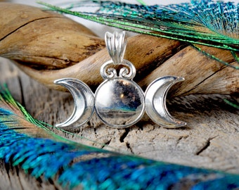 Triple Moon Goddess ~ Sterling Silver Pendant ~ Pagan Wiccan Witchcraft Priestess Lunar