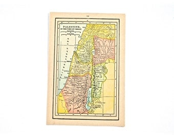 1936 - Israel Map - Beautiful Old Map of Israel - Small Vintage Map - Colorful Atlas Map - Gift - Home Decor