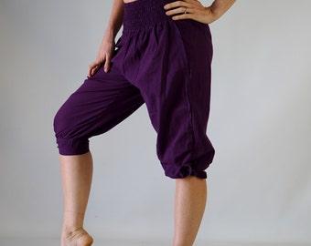 CASTAWAY PANTS - Zootzu, Renaissance Festival, Gypsy Pants, Pirate Pants, Buccaneer Pants, Peasant Pants, Capri, Bloomers - Solid Purple