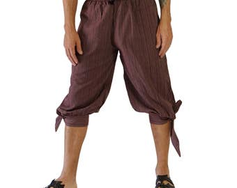 BUCCANEER PANTS Striped BROWN - Steampunk, Pirate Pants, Harem Pants, Medieval Clothing, Renaissance Festival, Burning Man, Larp Costume