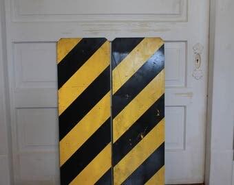 Vintage Hazard Metal Road Sign Striped Yellow Black Warning Caution