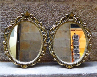Antique Oval Mirrors, set of 2