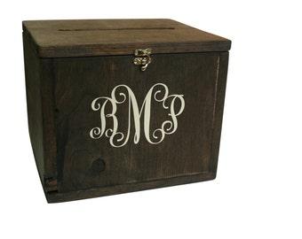 Wedding Card Box | Rustic Wedding | Monogram Boxes | Custom Wood Card Box | Beach Wedding | Wedding Reception