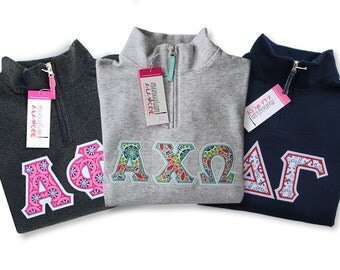 1/4 Zip Greek Letter Applique Sweatshirt