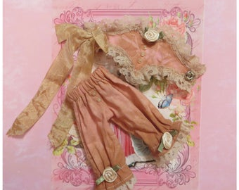 Haute Couture 'Pink Tstain' Corset & Knickers set for Blythe or similar sized dolls