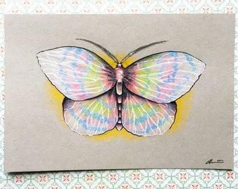 "Fantasy Pop Surrealism Moth Original Drawing, Color Pencil Fantasy Art, Butterfly Art, ""HIGH"", Home Decor, Wall Art, Modern Decor"