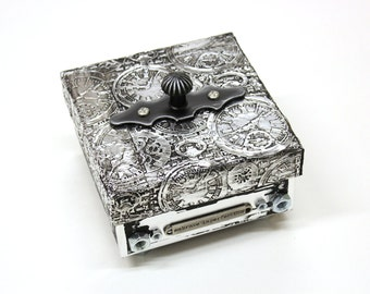 Steampunk jewelry box - treasure box, mens jewelry box, trinket box with gears and wings - Gothic art, Steampunk art