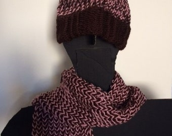Pink and Brown Hat and Scarf Set