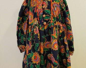 Vintage floral girls dress. 1990s made in Greece