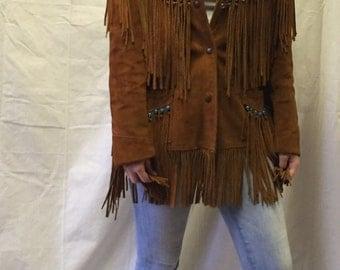 Vintage Rust Suede Fringe Jacket