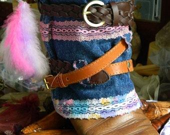 Denim Belted Boot Cuffs