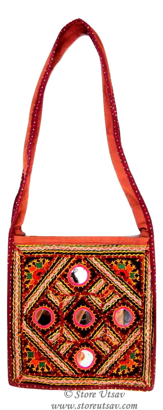Sling bag handmade kutch embroidery with mirror work