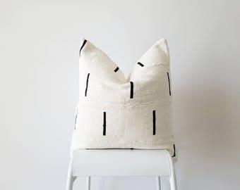 Authentic Mudcloth Pillow, Mali Bogolan, Cream, Black, Lines