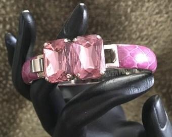 Mannelli SnakeSkin Clamper Bangle Bracelet, Italy, Signed, Silver Plated, Purple, Lavender, Pink, Snakeskin Clamper, Florence Italy