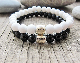 Personalized Gifts Wedding Gifts for couples bracelets Personalized bracelets Grooms Gifts valentines gifts for him Gift Yin Yang bracelets