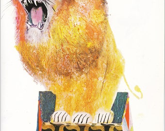 Circus Lion 70's mid century children's illustration retro nursery decor Brian Wildsmith 8.5x11 inches