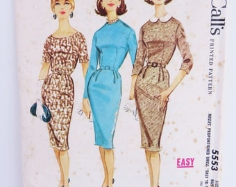 Vintage 1960s McCall's sewing pattern - Number 5553 classic wiggle dress madmen style size 12 Bust 32