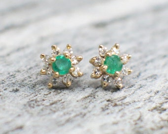 Emerald and Diamond Vintage Floral Earrings