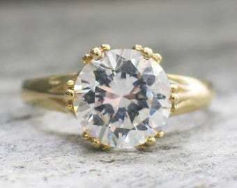 CZ 14K Gold Vintage Alternative Engagement Ring