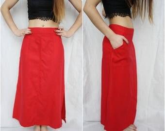 Linen skirt Long skirt Red linen skirt Maxi skirt Natural linen skirt Side slit skirt High waisted Pencil office Skirt Long maxi skirt M