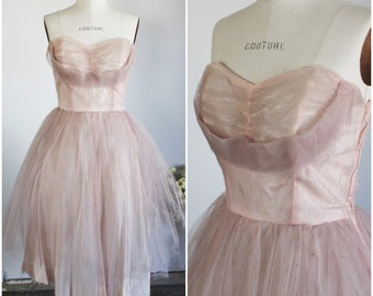 Vintage 1940s Pink Prom Dress Worn By Pia Zadora in Voyage of The Rock Aliens Party Dress / Fit and Flare / Hollywood Movie Memorabilia