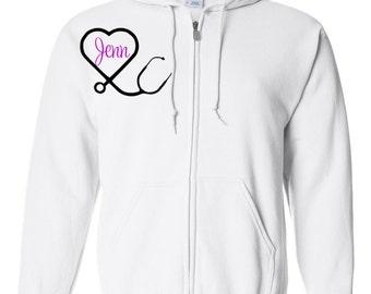 Nurse Hoodie, Nurse's Week Gift, Monogram Hoodie, Nurse Gift, Gift for Nurse