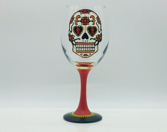 Sugar Skull Hand Painted Wine Glass Day of the Dead Dia de los Muertos red orange green yellow