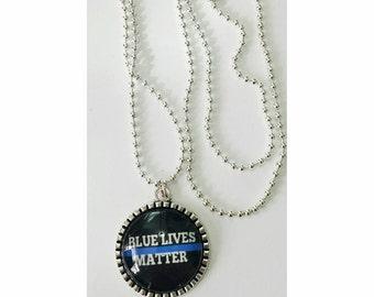Blue lives matter necklace blue lives matter pendant  police lives matter police  police necklace gift under 30