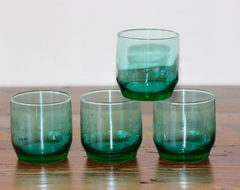 Vintage Green Lowball Tumblers Rocks Glasses Set of 4